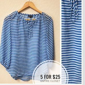 Tops - Sheer Chiffon High low striped blouse Sz SMALL